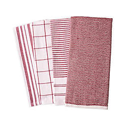 Artisanal Kitchen Supply® Reversible Terry Kitchen Towels in Red (Set of 4)