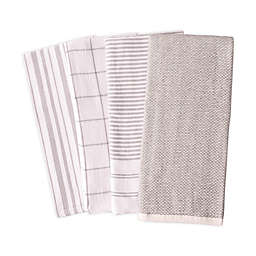 Artisanal Kitchen Supply® Reversible Terry Kitchen Towels in Grey (Set of 4)