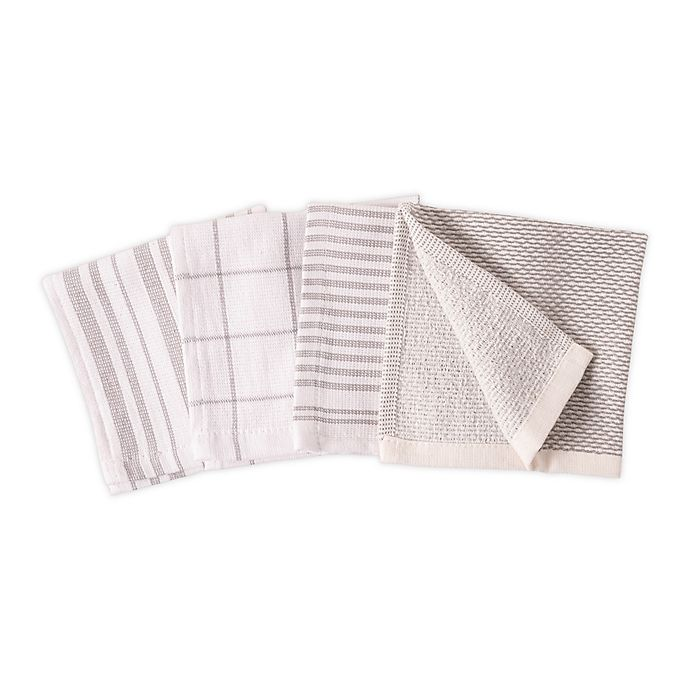 Alternate image 1 for Artisanal Kitchen Supply® Dual Sided Dish Cloths in Grey (Set of 4)