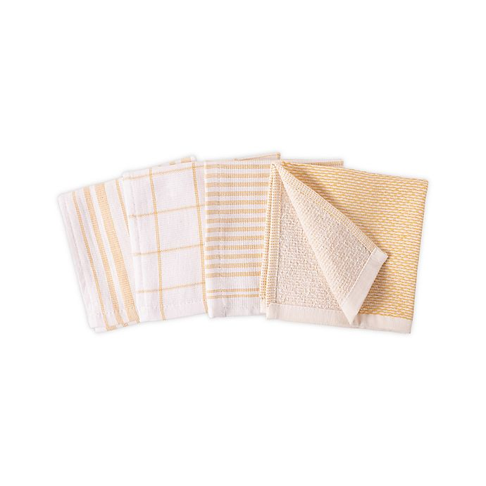 Alternate image 1 for Artisanal Kitchen Supply® Dual Sided Dish Cloths in Yellow (Set of 4)