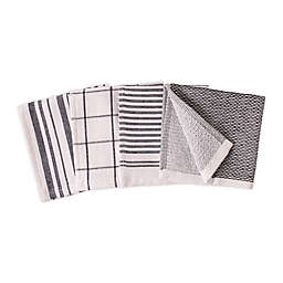 Artisanal Kitchen Supply® Dual Sided Dish Cloths in Black (Set of 4)