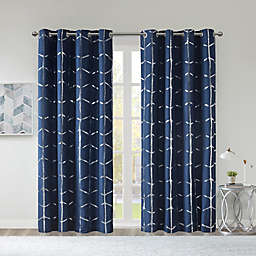 Intelligent Design Raina 84-Inch Grommet 100% Blackout Window Curtain Panel in Navy (Single)
