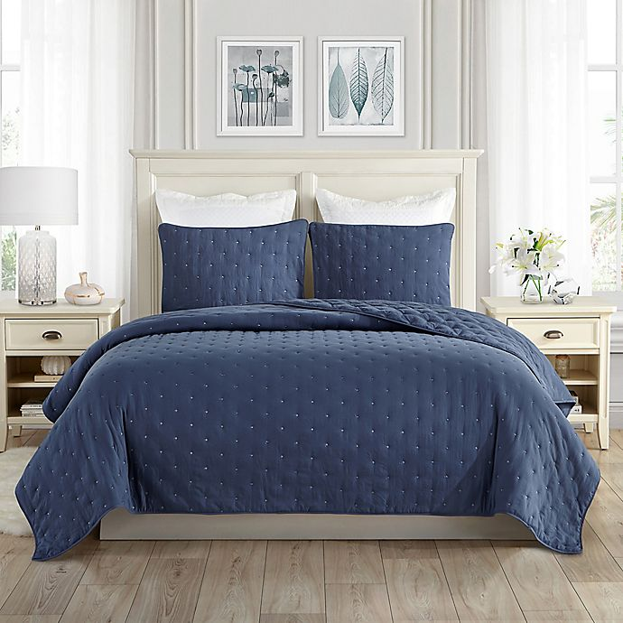 Alternate image 1 for Swift Home Classic Embroidered Dot 3-Piece Full/Queen Quilt Set in Navy