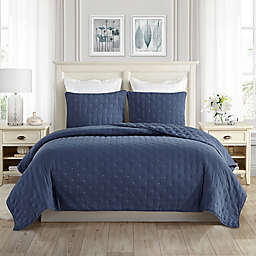 Swift Home Classic Embroidered Dot 3-Piece Full/Queen Quilt Set in Navy
