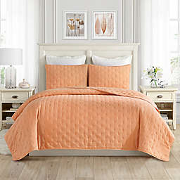 Swift Home Classic Embroidered Dot 3-Piece Full/Queen Quilt Set in Orange