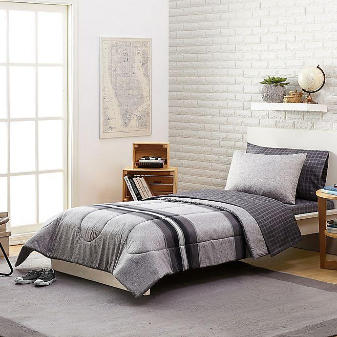 Alternate image 1 for Stripe 7-Piece Reversible Comforter Set