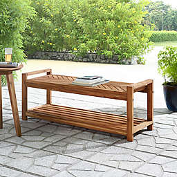 Forest Gate™ Olive Acacia Wood Patio Bench in Brown