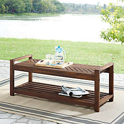 Forest Gate™ Olive Acacia Wood Patio Bench in Dark Brown
