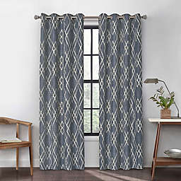 Urban Thread Atwood 95-Inch Grommet Light Filtering Lined Window Curtain Panel in Indigo
