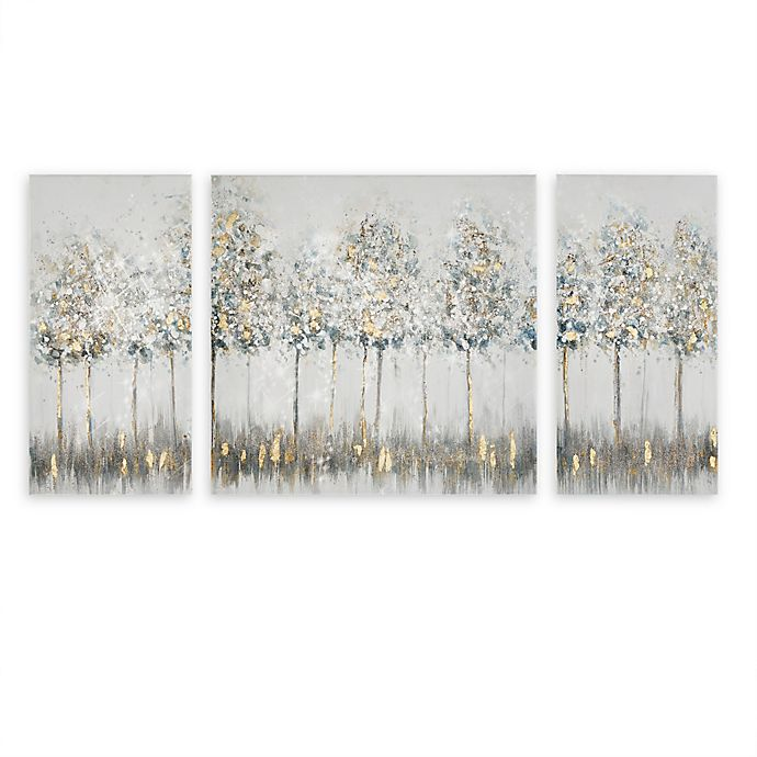 Madison Park Blue Midst Forest Printed Canvas Wall Art With Gold Foil In Blue Multi Set Of 3 Bed Bath Beyond