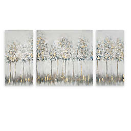 Madison Park Blue Midst Forest Printed Canvas Wall Art with Gold Foil in Blue Multi (Set of 3)