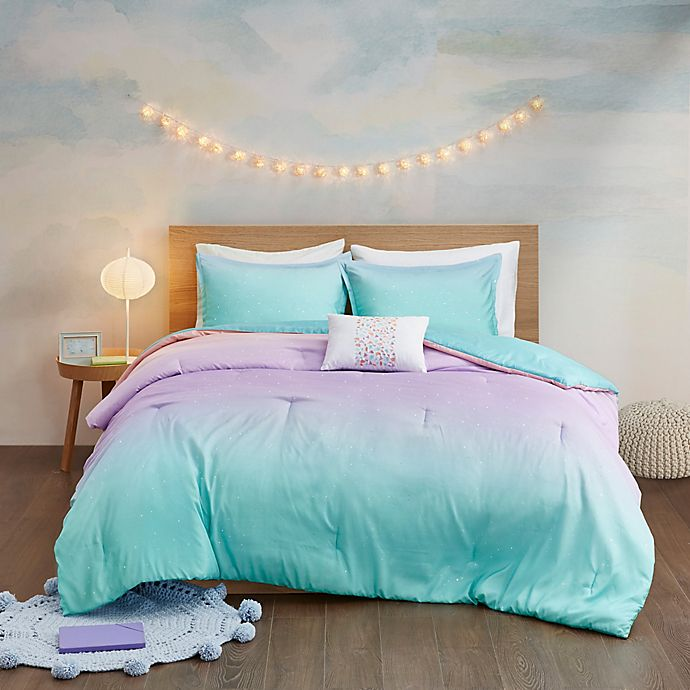 Alternate image 1 for Mi Zone Glimmer Reversible Comforter Cover Set in Aqua