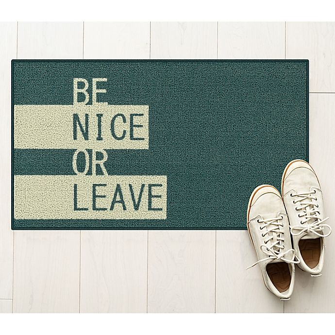 Alternate image 1 for Be Nice Or Leave 1'8 x 2'10 Accent Rug in Teal/Grey