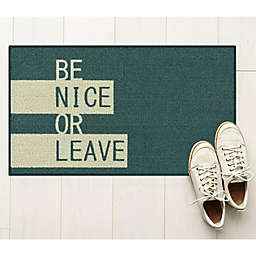 Be Nice Or Leave 1'8 x 2'10 Accent Rug in Teal/Grey