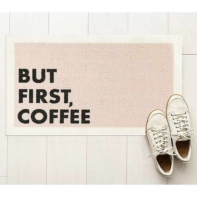 Alternate image 1 for But First Coffee 1'8 x 2'10 Accent Rug in Rose/Grey