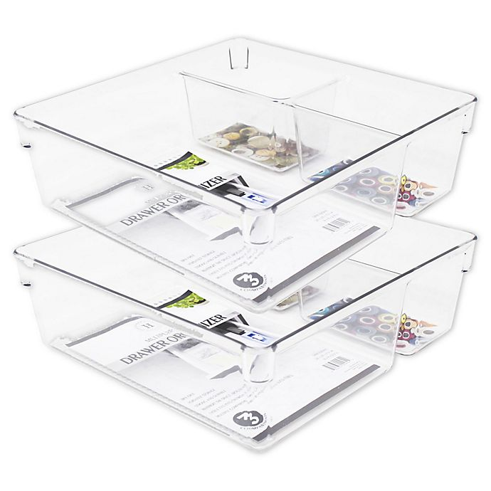 Alternate image 1 for Heritage 9-Inch Multipurpose Drawer Organizer Bins in Clear (Set of 2)