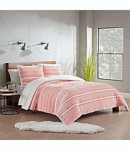 Set de edredón individual de poliéster UGG® Avery color rosa atardecer