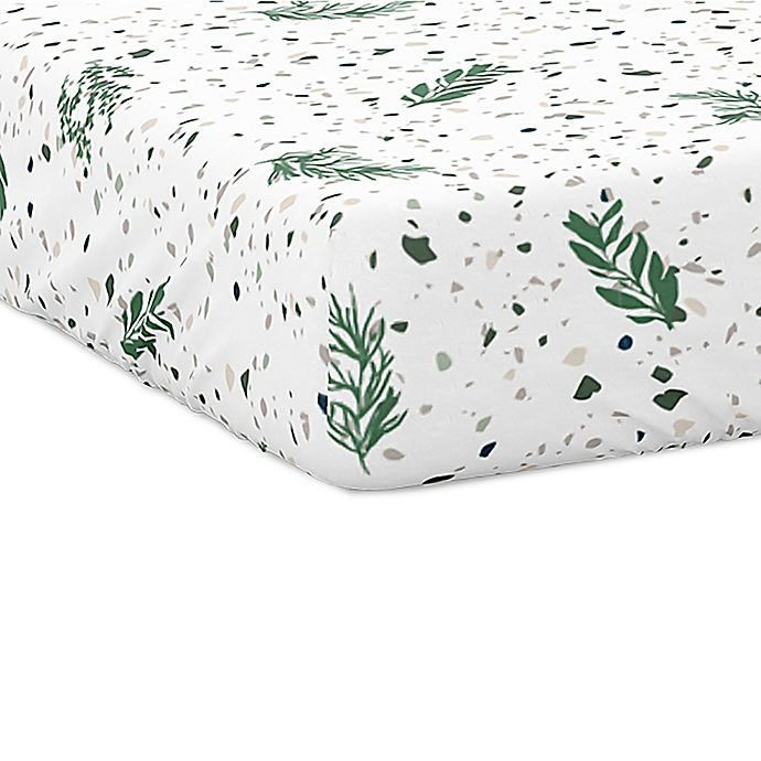 Alternate image 1 for Goumi® Organic Cotton Botanical Crib Sheet in Green/White