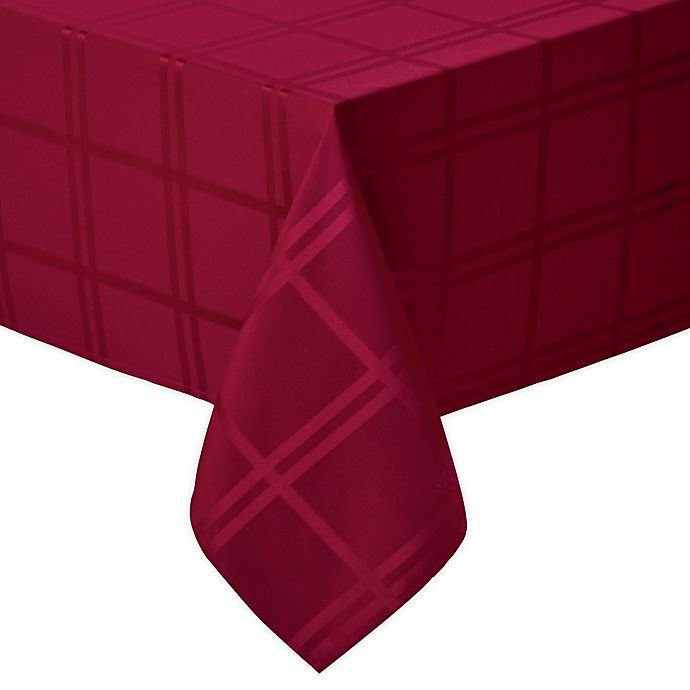 Alternate image 1 for Wamsutta® Solid 60-Inch x 102-Inch Oblong Tablecloth in Ruby