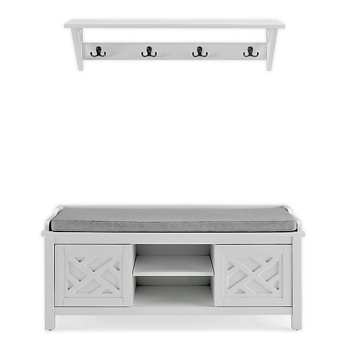 Coventry 36-Inch Coat Hook and Storage Bench Set in White   Bed