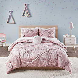 Ivy Crushed Velvet 2-Piece Twin/Twin XL Comforter Set in Pink
