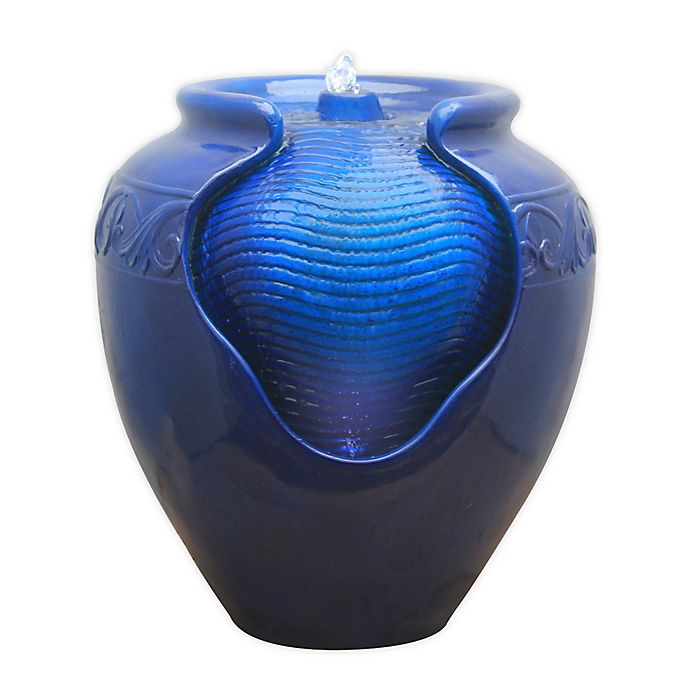 Alternate image 1 for Peaktop Outdoor Glazed Pot Floor Fountain with LED Light in Blue