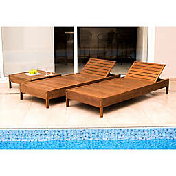 Grass Eucalyptus Wood Patio Reclining Chaise Lounge Chair in Brown with Cushions