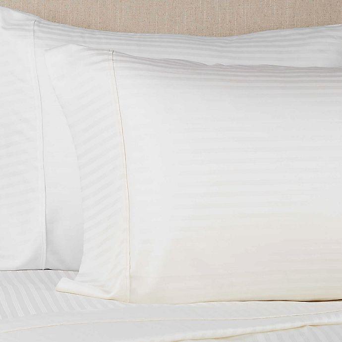 Alternate image 1 for Brookstone® BioSense Stripe 500-Thread-Count Tencel King Pillowcase Set in Ivory