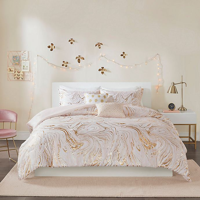 Alternate image 1 for Intelligent Design Rebecca Metallic Printed Comforter Set in Blush/Gold