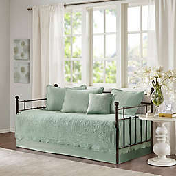 Madison Park Tuscany 6-Piece Reversible Scalloped Edge Daybed Cover Set in Seafoam