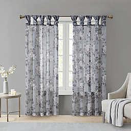 Madison Park Simone 84-Inch Sheer Twisted Tab Top Window Curtain Panel in Grey (Single)