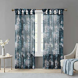 Madison Park Simone 84-Inch Sheer Twisted Tab Top Window Curtain Panel in Navy (Single)