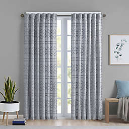 Intelligent Design Annie 84-Inch Rod Pocket Solid Clipped Jacquard Curtain in Grey (Single)