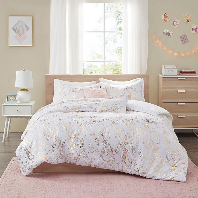 Alternate image 1 for Intelligent Design Magnolia Metallic Printed Floral Bedding Collection in Gold