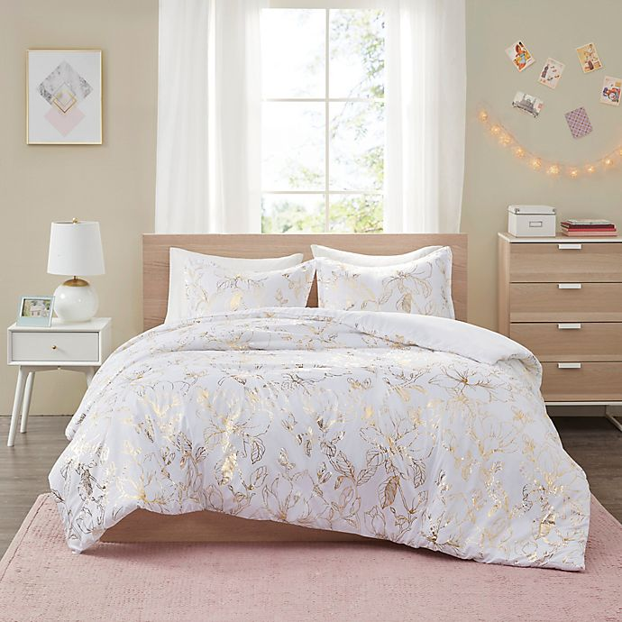 Alternate image 1 for Intelligent Design Magnolia Printed Floral 5-Piece Full/Queen Duvet Cover Set in Gold