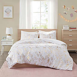 Intelligent Design Magnolia Metallic Printed Floral Twin/Twin XL Duvet Cover Set in Gold