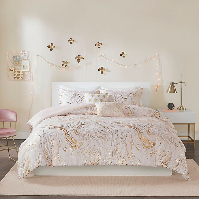 Alternate image 1 for Intelligent Design Rebecca 4-Piece Reversible Twin/Twin XL Duvet Cover Set in Blush/Gold