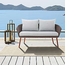 Alaterre Furniture™ Athens All-Weather Wicker Bench in Chocolate Brown with Cushions