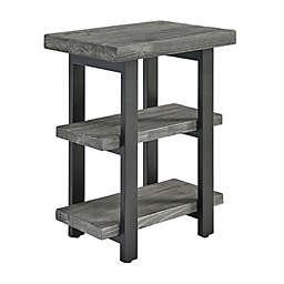 Alaterre Pomona 2-Shelf Metal and Wood End Table in Slate Grey