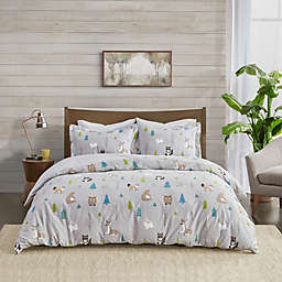 True North by Sleep Philosophy Dog Flannel King/California King Duvet Cover Set in Wood