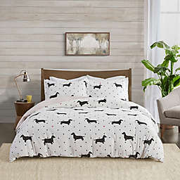 True North by Sleep Philosophy Dog Flannel King/California King Duvet Cover Set in Black