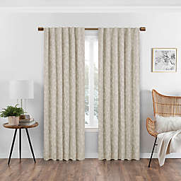 Eclipse Nora 108-Inch Rod Pocket/Back Tab 100% Blackout Window Curtain Panel in Linen