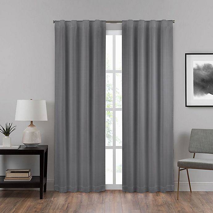 Alternate image 1 for Eclipse Summit 108-Inch Rod Pocket 100% Blackout Window Curtain Panel in Charcoal