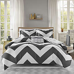 Libra Reversible Chevron 4-Piece Twin XL Comforter Set in Black/White