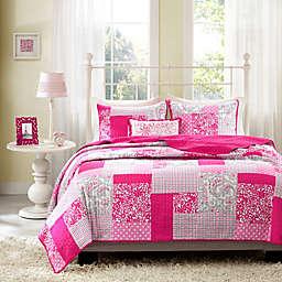 Mi Zone Abbey Pink Plaid Printed Twin/Twin XL Coverlet Bedding Set