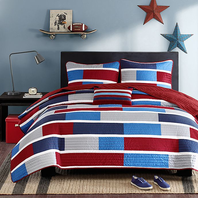Alternate image 1 for Mi Zone Bradley Colorblock Printed Twin/Twin XL Coverlet Bedding Set
