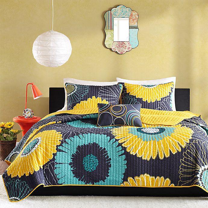 Mi Zone Alice 4 Piece Modern Floral Printed Coverlet Set Bed Bath Beyond