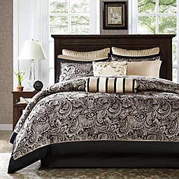 Madison Park Aubrey 12-Piece Reversible Full Comforter Set in Black/Silver