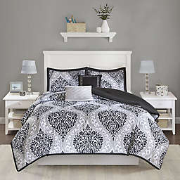 Senna Reversible Full/Queen Comforter Set in Black
