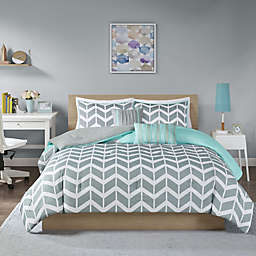 Intelligent Design Nadia 5-Piece Reversible Full/Queen Comforter Set in Teal